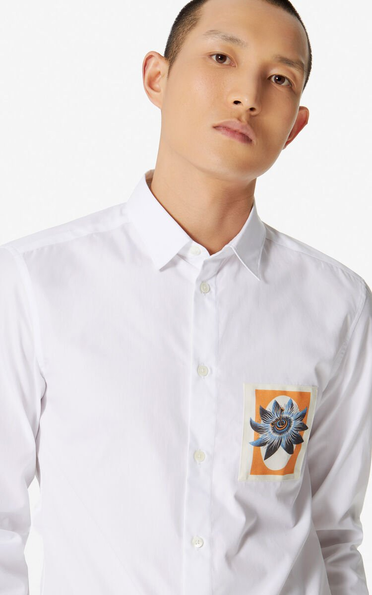 WHITE 'Passion Flower' slim-fit shirt for men KENZO