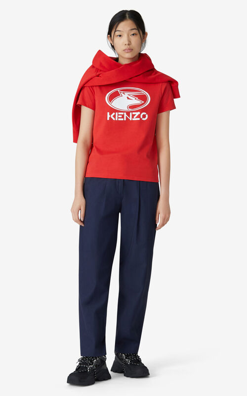 MEDIUM RED 'KENZO Ox' T-shirt for women