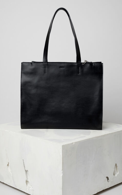 BLACK Leather Kenzo logo tote bag for women