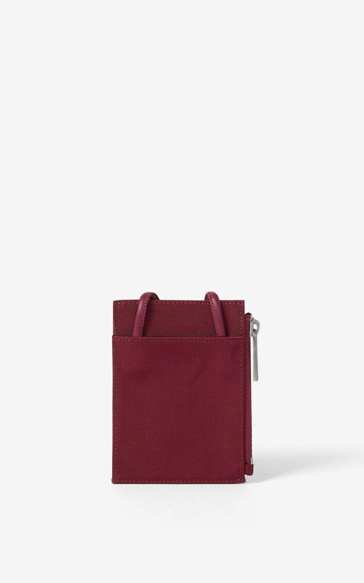 MAGENTA Canvas Kampus Tiger card holder with long strap for unisex KENZO