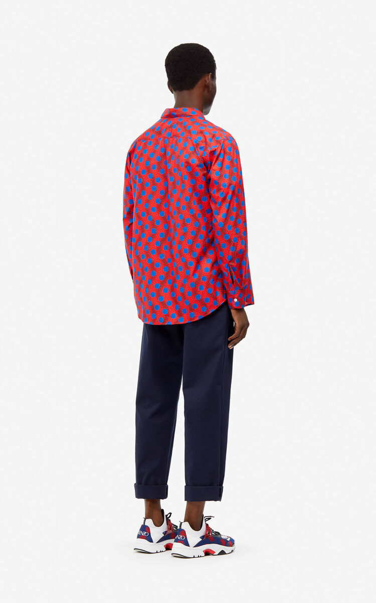 MEDIUM RED 'Wave Polka' casual shirt for men KENZO