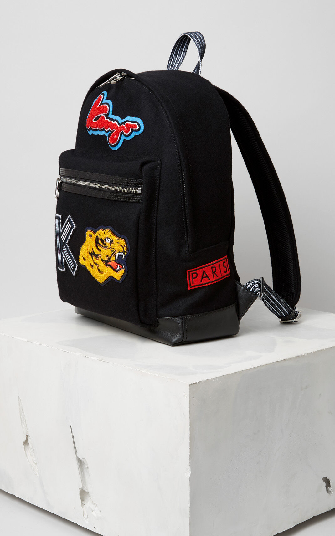 BLACK 'Varsity' Backback for men KENZO