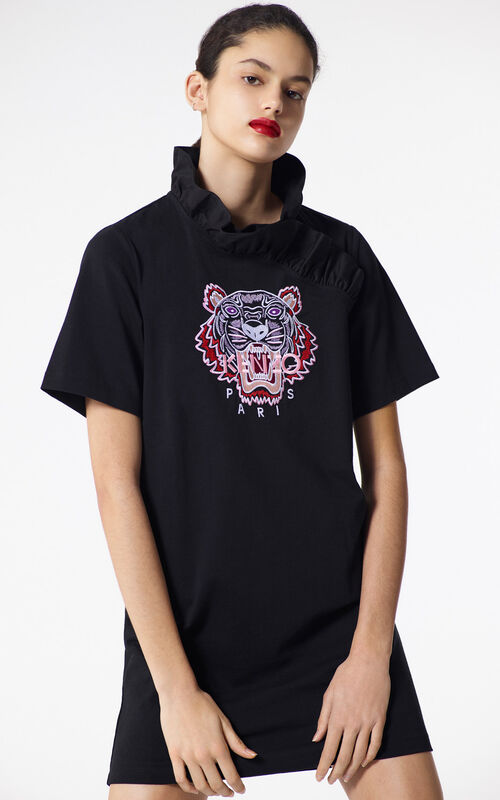 Black Tiger Ruffled Collar Dress For Women Kenzo