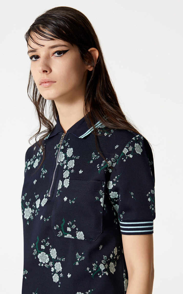 NAVY BLUE 'Cheongsam Flower' Polo for women KENZO