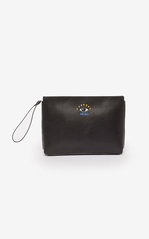 BLACK Gusset Clutch Eye for unisex KENZO