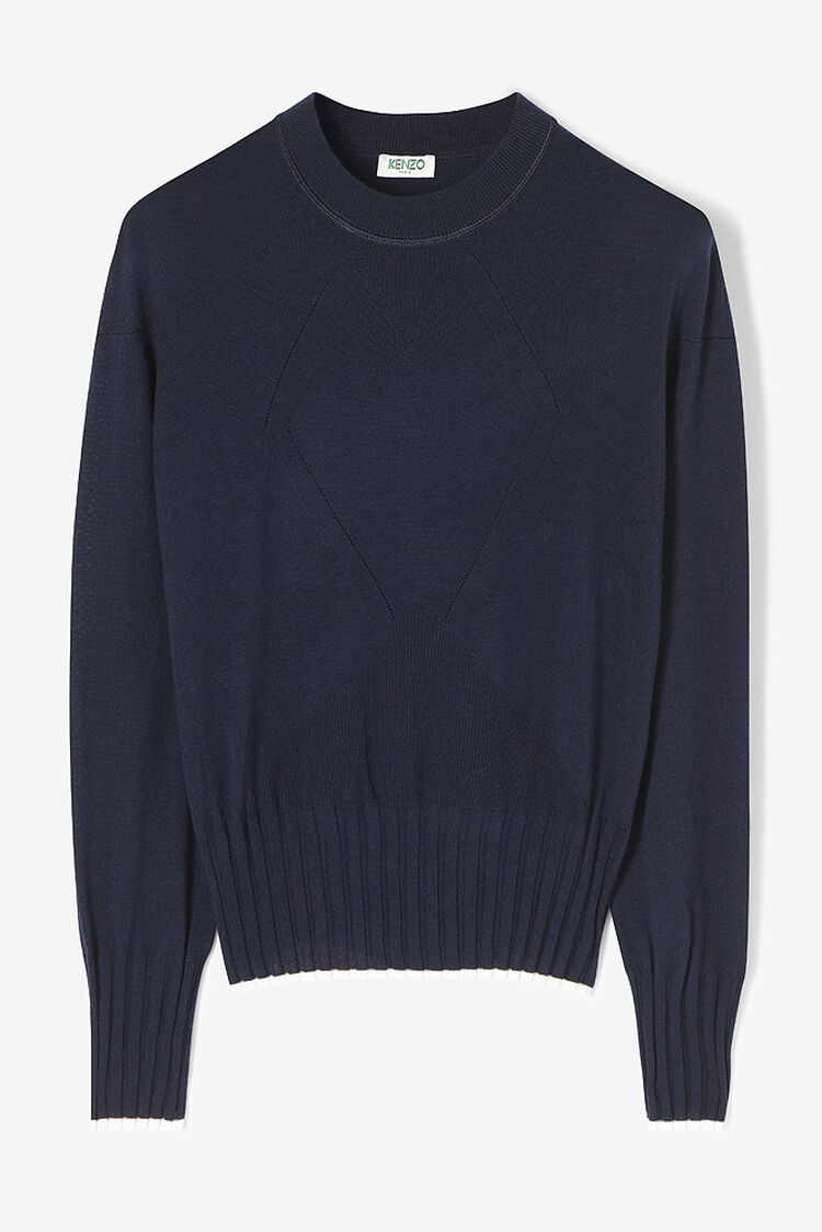 MIDNIGHT BLUE Plain jumper with knitted patterns for women KENZO