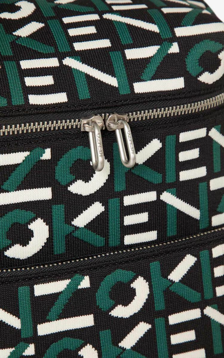 GREEN Monogrammed jacquard backpack for unisex KENZO