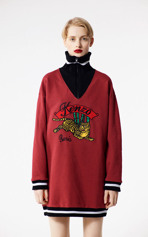 SUEDE 'Bamboo Tiger' sweatshirt dress for women KENZO