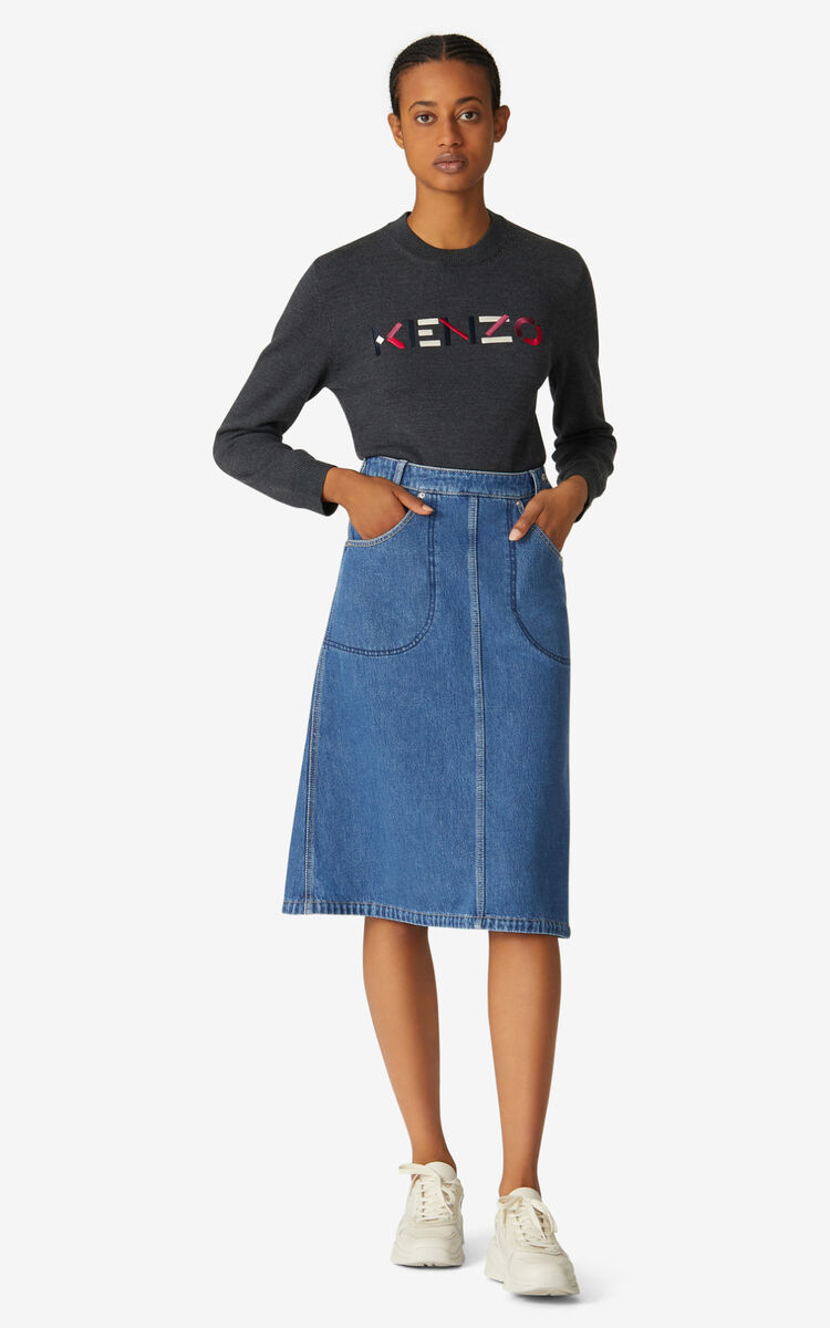 MIDNIGHT BLUE Denim midi skirt for women KENZO