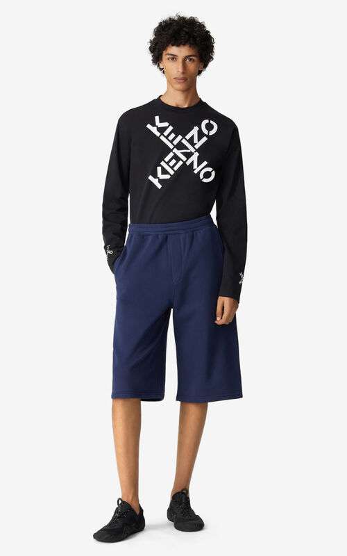 MIDNIGHT BLUE Oversized KENZO Sport 'Little X' shorts for men