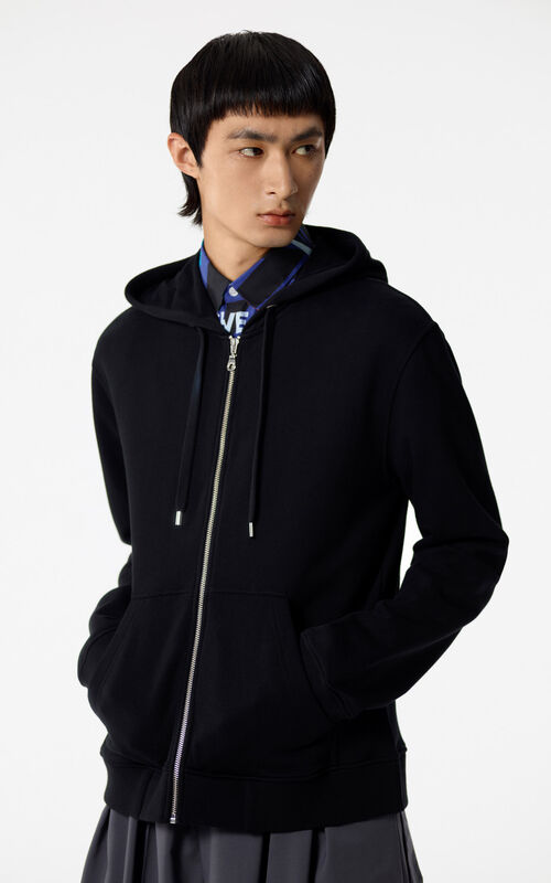 BLACK Hooded zipped Tiger sweatshirt for men KENZO