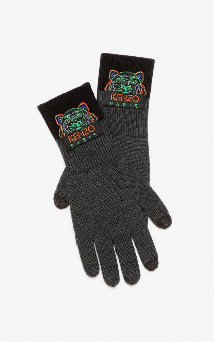 ANTHRACITE Tiger gloves for unisex KENZO