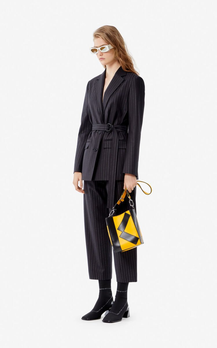 BLACK Striped wool jacket for women KENZO