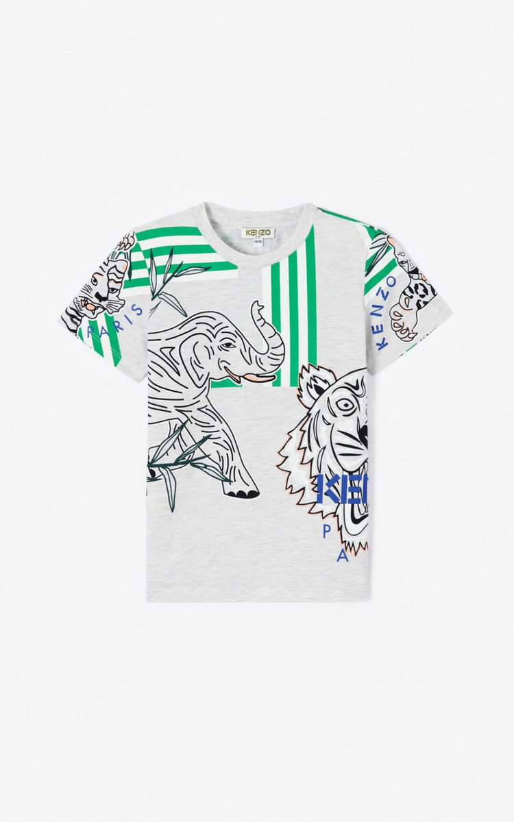 PALE GREY 'Disco Jungle' multi-icon T-shirt for women KENZO