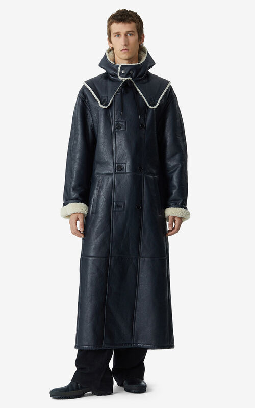 STONE GREY Long belted leather coat for men KENZO
