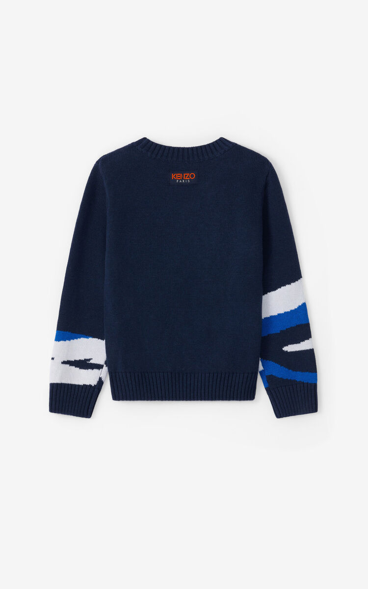 NAVY BLUE 'Ventura' Tiger Sweater for women KENZO