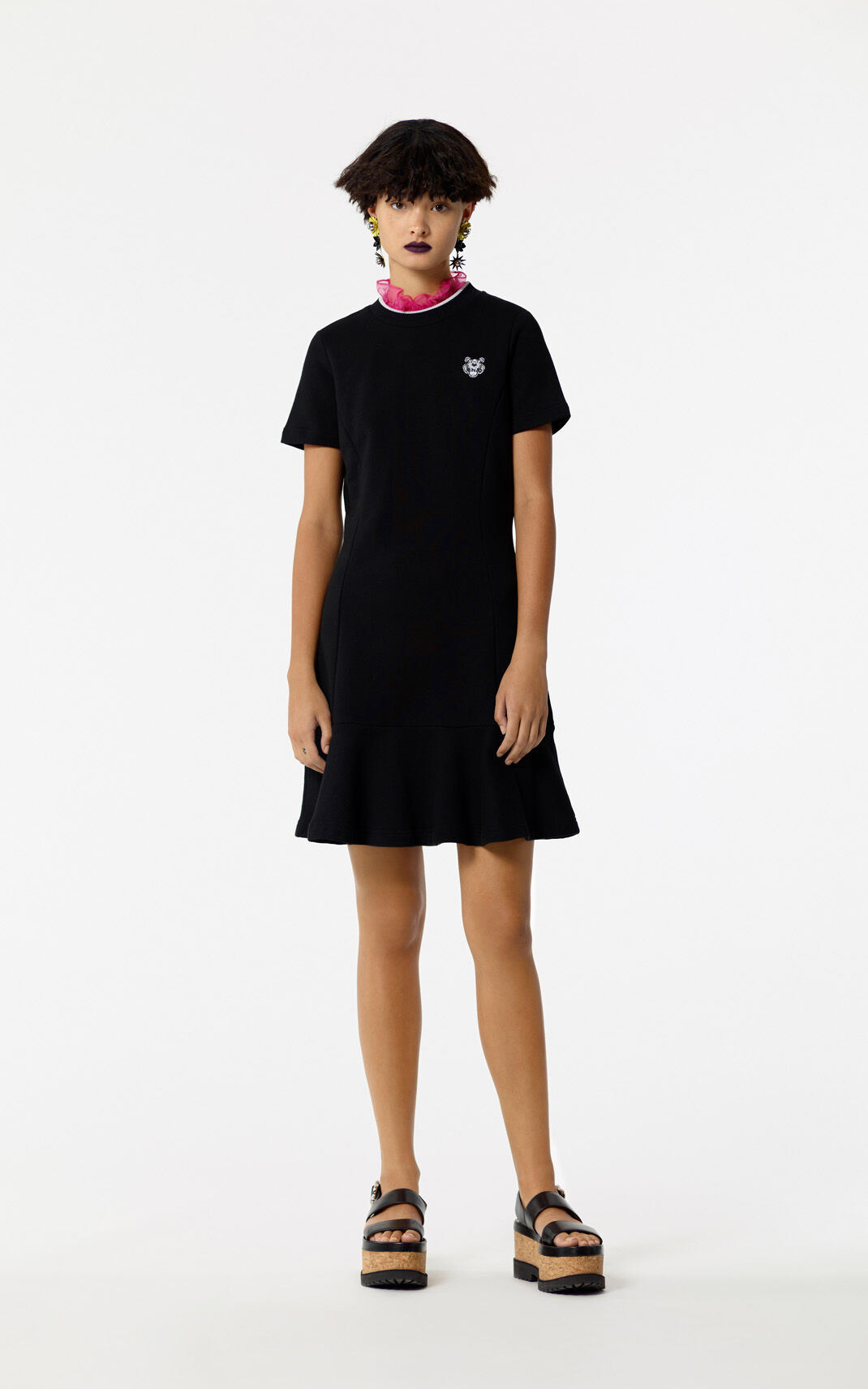 BLACK Knit Tiger skater dress for women KENZO