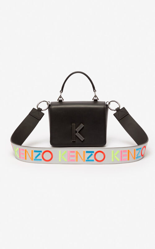 PALE GREY KENZO logo reversible leather shoulder strap for unisex