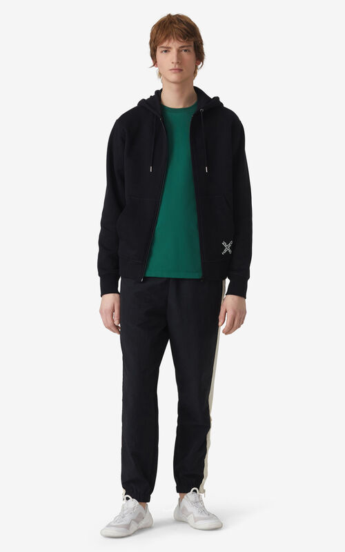 BLACK KENZO Sport 'Little X' zipped hoodie sweatshirt for men