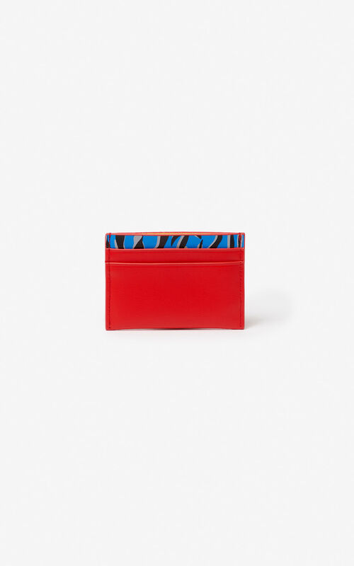 MEDIUM RED 'Tiny Tiger' leather card holder for men KENZO