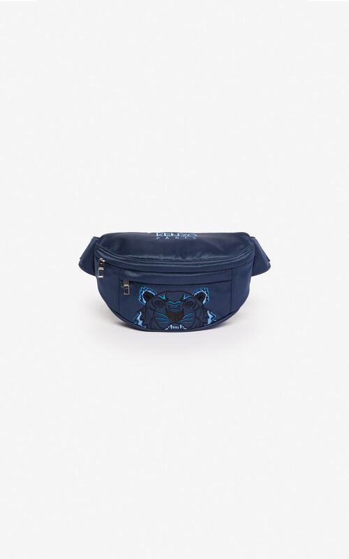 MIDNIGHT BLUE Satin Tiger bumbag 'Holiday Capsule' for men KENZO