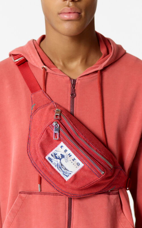 MEDIUM RED Denim 'Kanagawa Wave' bumbag for women KENZO
