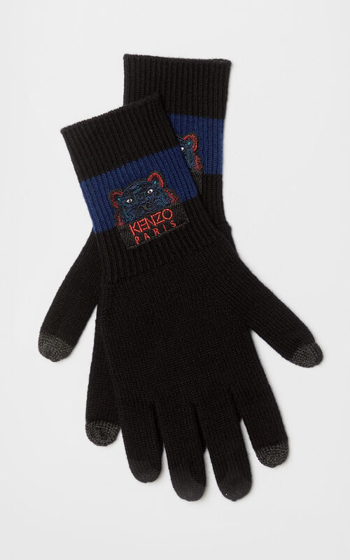 MIDNIGHT BLUE Tiger wool gloves 'Holiday Capsule' for unisex KENZO