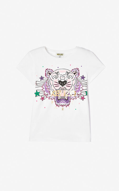WHITE 'Super Tiger' T-shirt for women KENZO