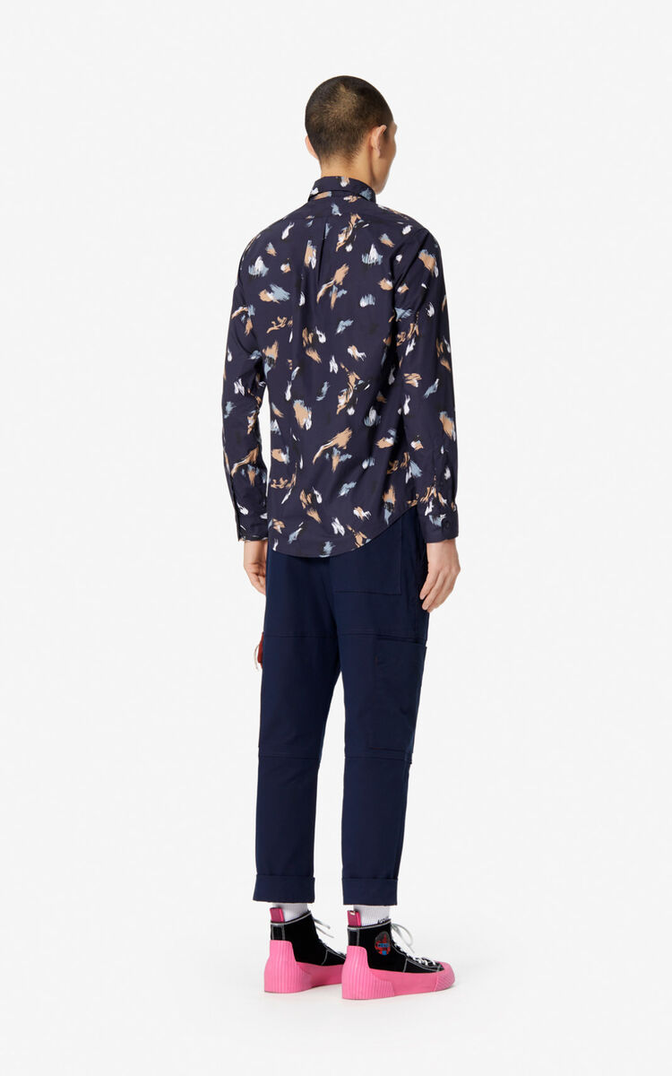 NAVY BLUE 'Painted Tiger' casual-fit shirt for men KENZO
