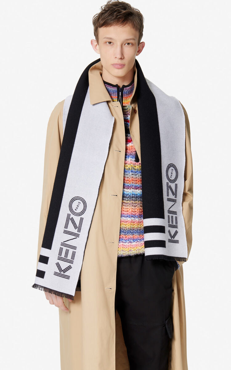 BLACK KENZO Logo wool scarf  for women