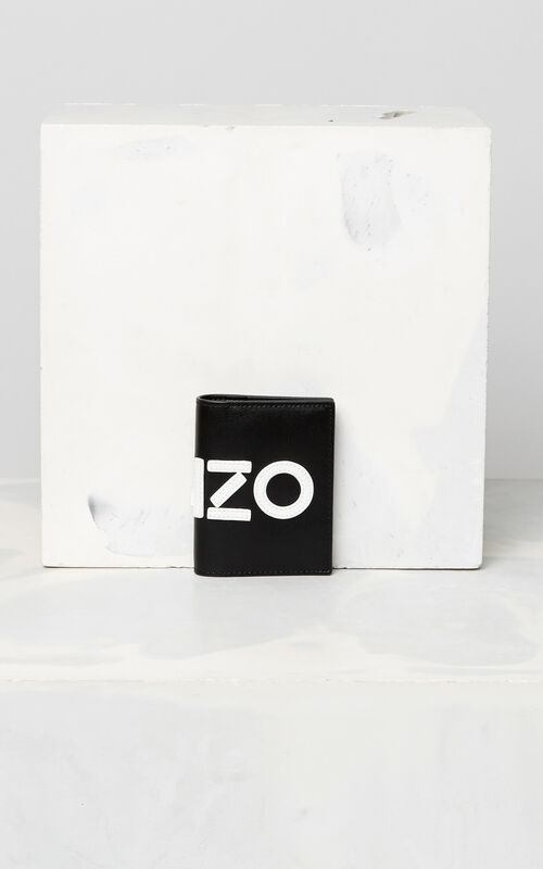 BLACK KENZO colorblock leather cardholder for unisex