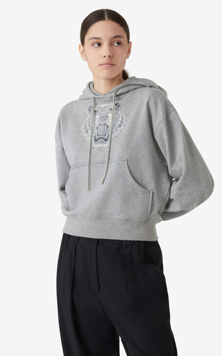 PEARL GREY Tiger boxy hoodie for women KENZO