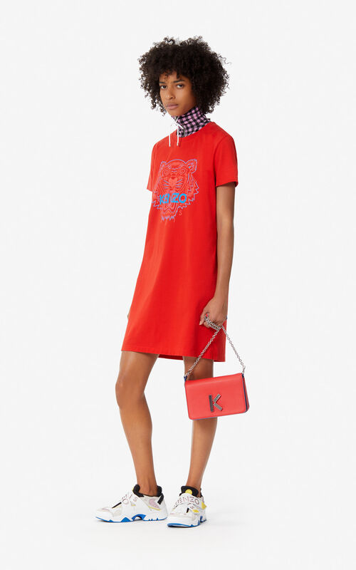 Medium Red Two Tone Tiger T Shirt Dress For Women Kenzo
