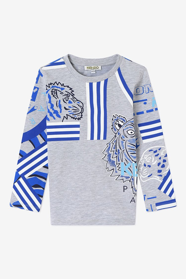 MIDDLE GREY Tiger Friends Long T-shirt for women KENZO