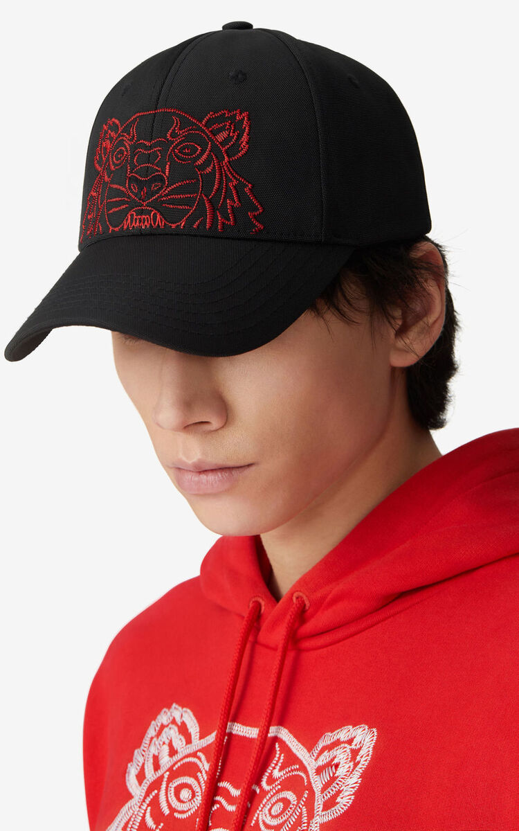 BLACK 'Chinese New Year Capsule' Kampus Tiger baseball cap for unisex KENZO