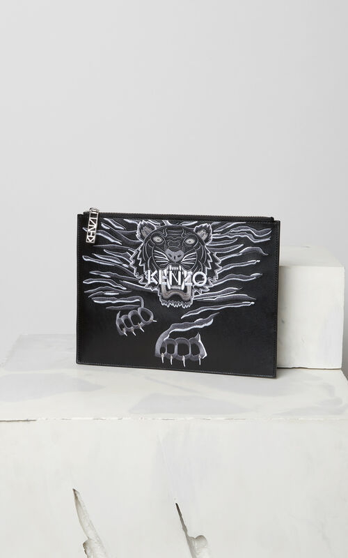 BLACK 'Crawling Tiger' A4 pouch for women KENZO