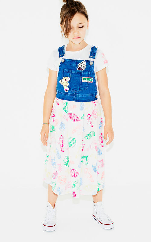 ROYAL BLUE 2 in 1 'Food Fiesta' dungaree dress for women KENZO