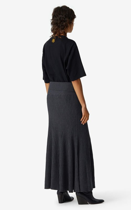 ANTHRACITE Flared merino wool skirt for women KENZO