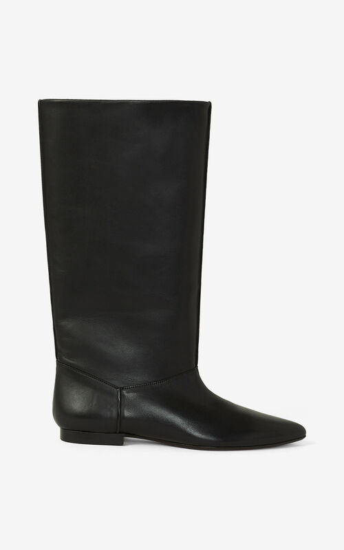 BLACK K-Line leather boots for unisex KENZO