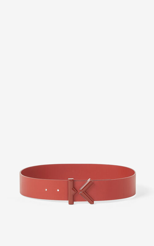 MOROCCAN BROWN KENZO K wide leather belt for unisex