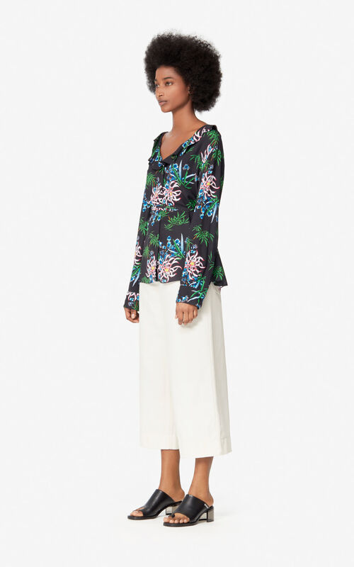BLACK 'Sea Lily' shirt for women KENZO