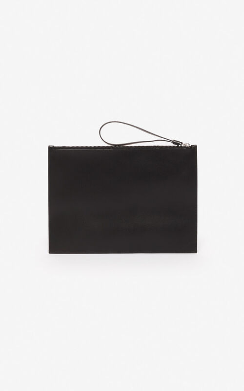 BLACK 'Valentine's Day Capsule' 'Lucky Tiger' leather clutch for unisex KENZO