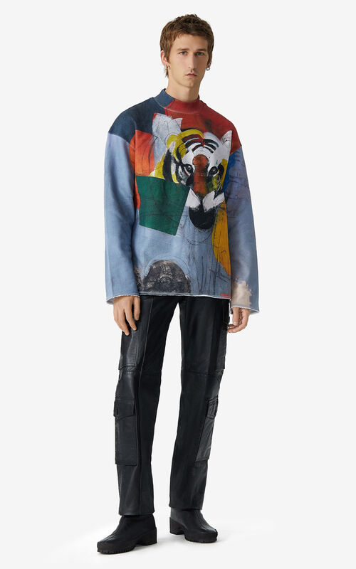 BLUE Sweatshirt with Júlio Pomar illustration for men KENZO