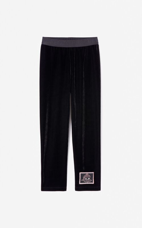 BLACK 'Cosmic' velour leggings for women KENZO