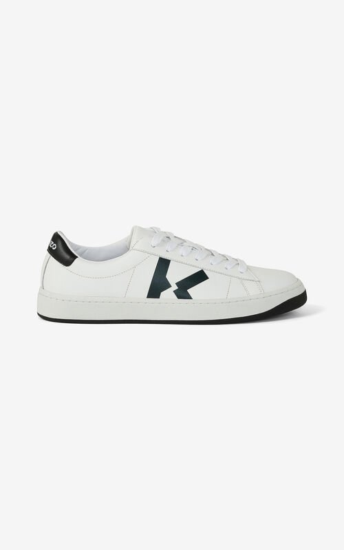 WHITE Leather KENZO Kourt K Logo sneakers for unisex