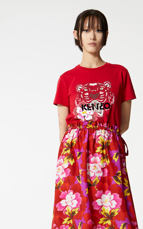 MEDIUM RED 'Indonesian Flower' Tiger t-shirt for women KENZO
