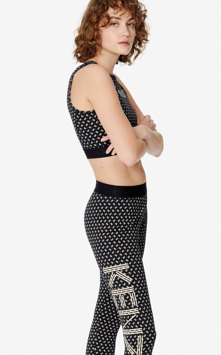 BLACK KENZO Logo 'Ikat' leggings for women