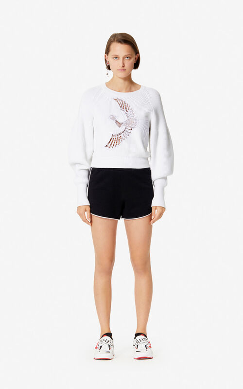 BLACK KENZO Logo shorts for women