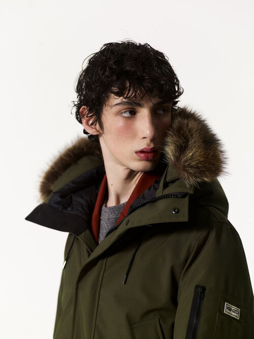 DARK KHAKI Long Fur parka for men KENZO