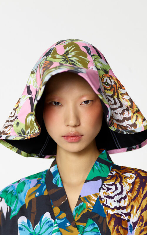 BEGONIA Wide-brimmed fabric 'Bamboo Tiger' hat for women KENZO